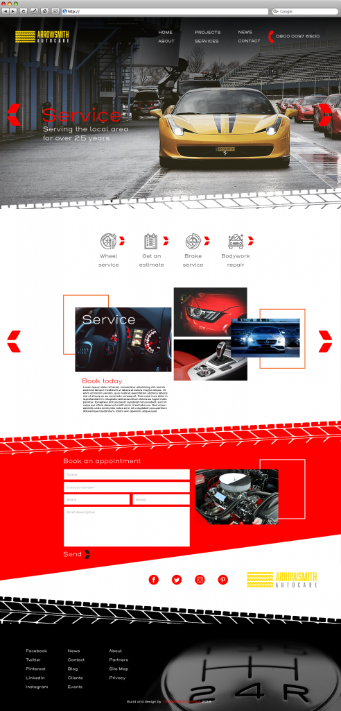 Auto website template image in red