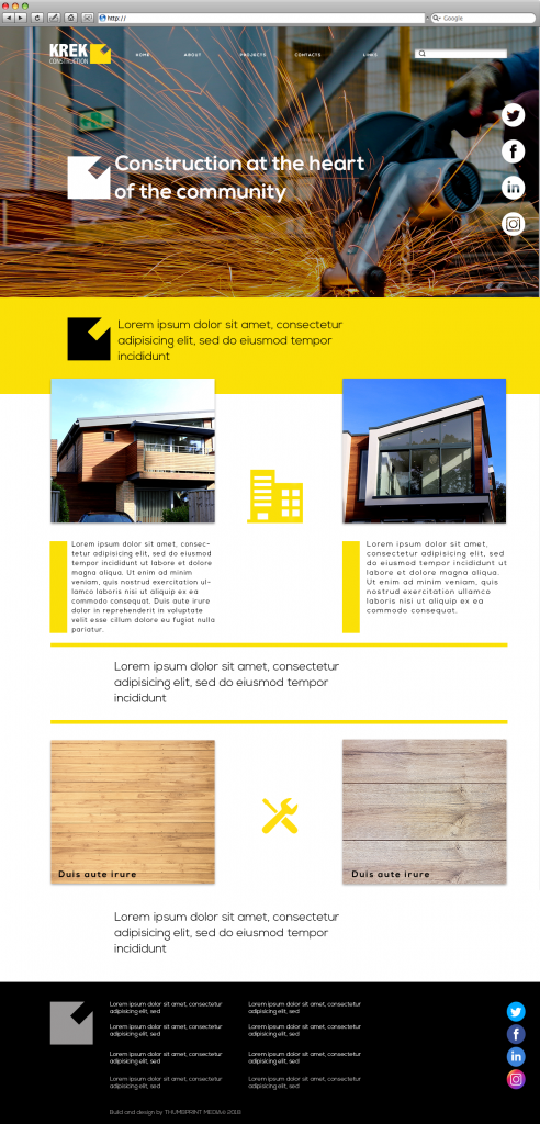 Construction website template image in yellow