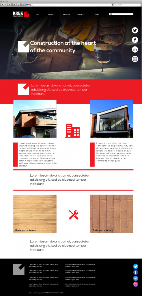 Construction website template image in red