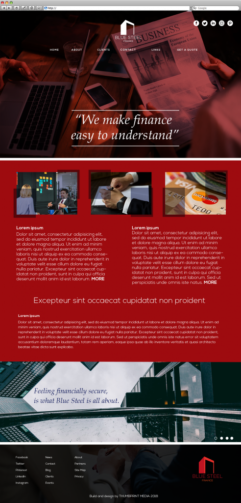Finance website template image in red