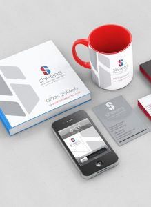 image of various items Sheens - Doors business logo attached. Branding created by Thumbprint Media