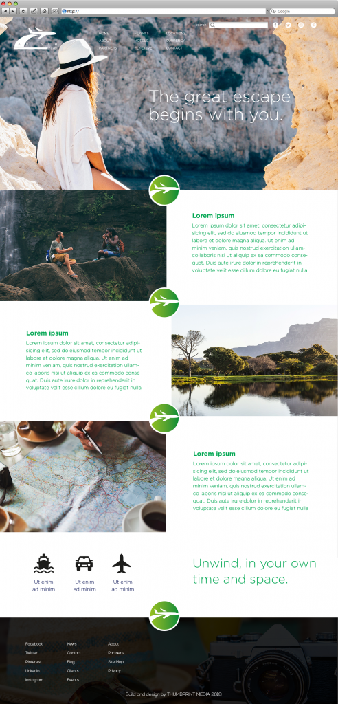 travel website template with green background