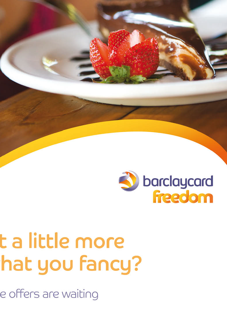 Thumbprint media print work, example of Barclaycard freedom promotional literature