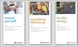 Thumbprint media work, image Barclaycard banners on a grey background