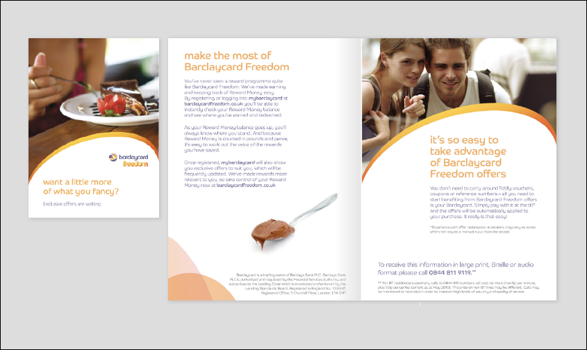 Thumbprint media work, image of a Barclaycard brochure