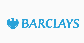 Our clients, Barclays logo on grey background