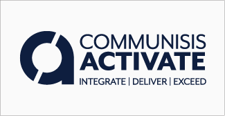 Our clients, Communisis activate logo on grey background