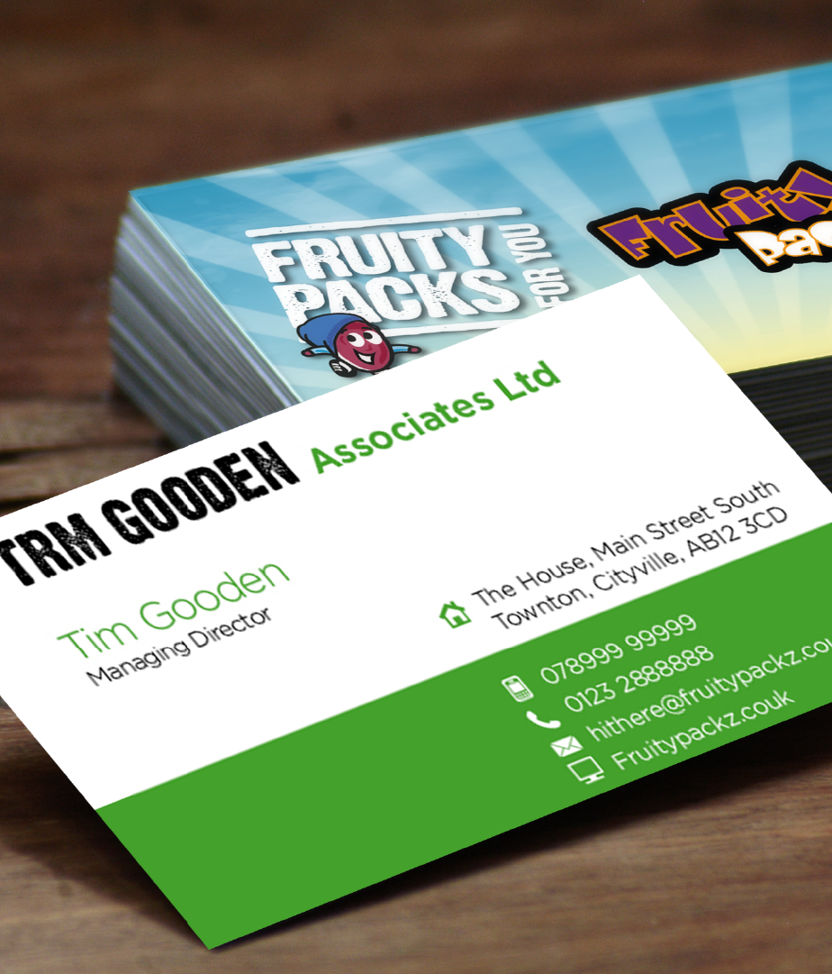 Thumbprint media print work, example of Corporate Stationary business cards