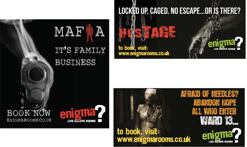 Selection of enigma escape rooms adverts.
