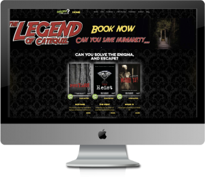 Enigma escape rooms website displayed on iMac screen.