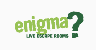 Our clients, Enigma escape rooms logo on grey background