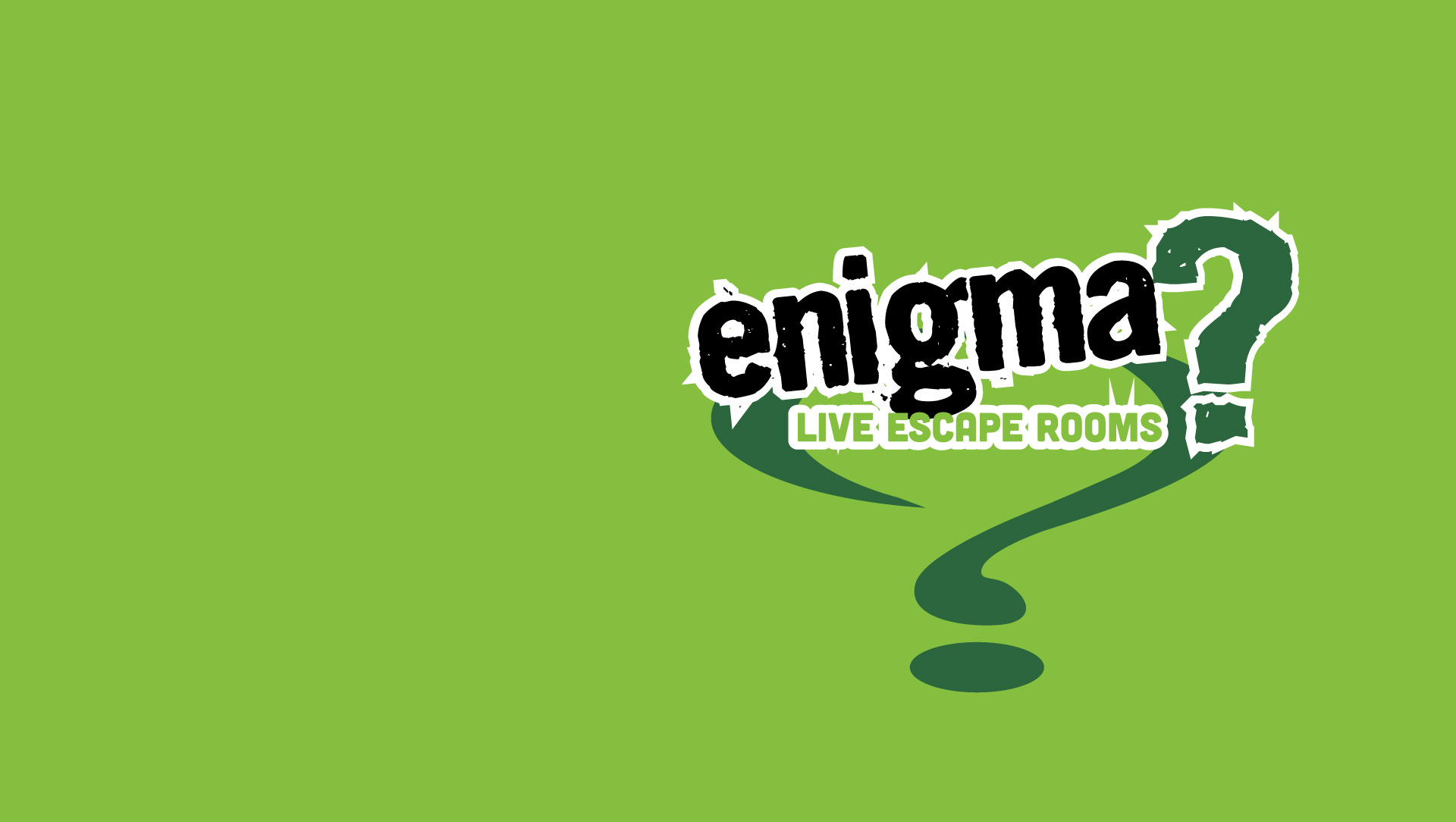 Enigma escape rooms logo on a green background