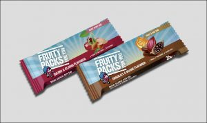 Fruity Packs Bars on a grey background