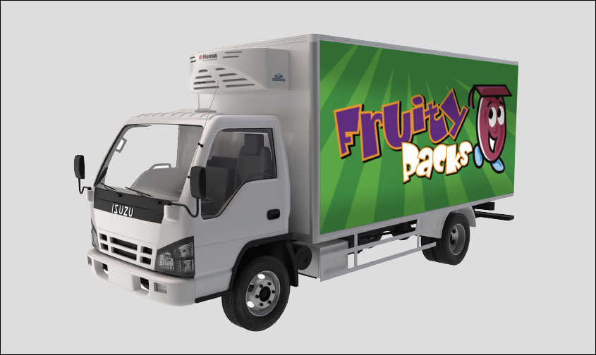 Fruity Packs truck on grey background