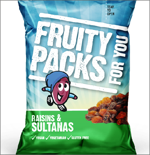 Fruity packs raisins and sultanas packet design