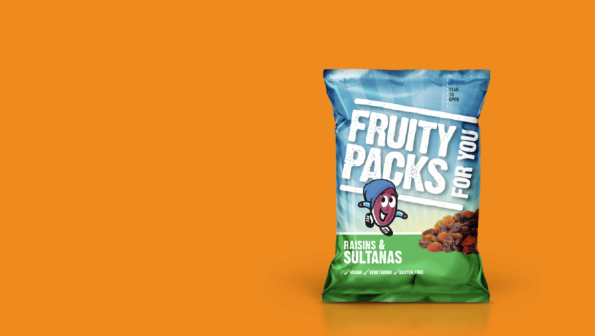 Fruity packs pack on an orange background