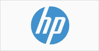 Our clients, Hewlitt Packard logo on a grey background