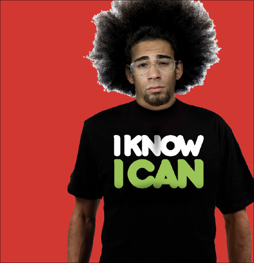 Thumbprint media work, image of I know I can logo on model wearing a black t shirt with red background