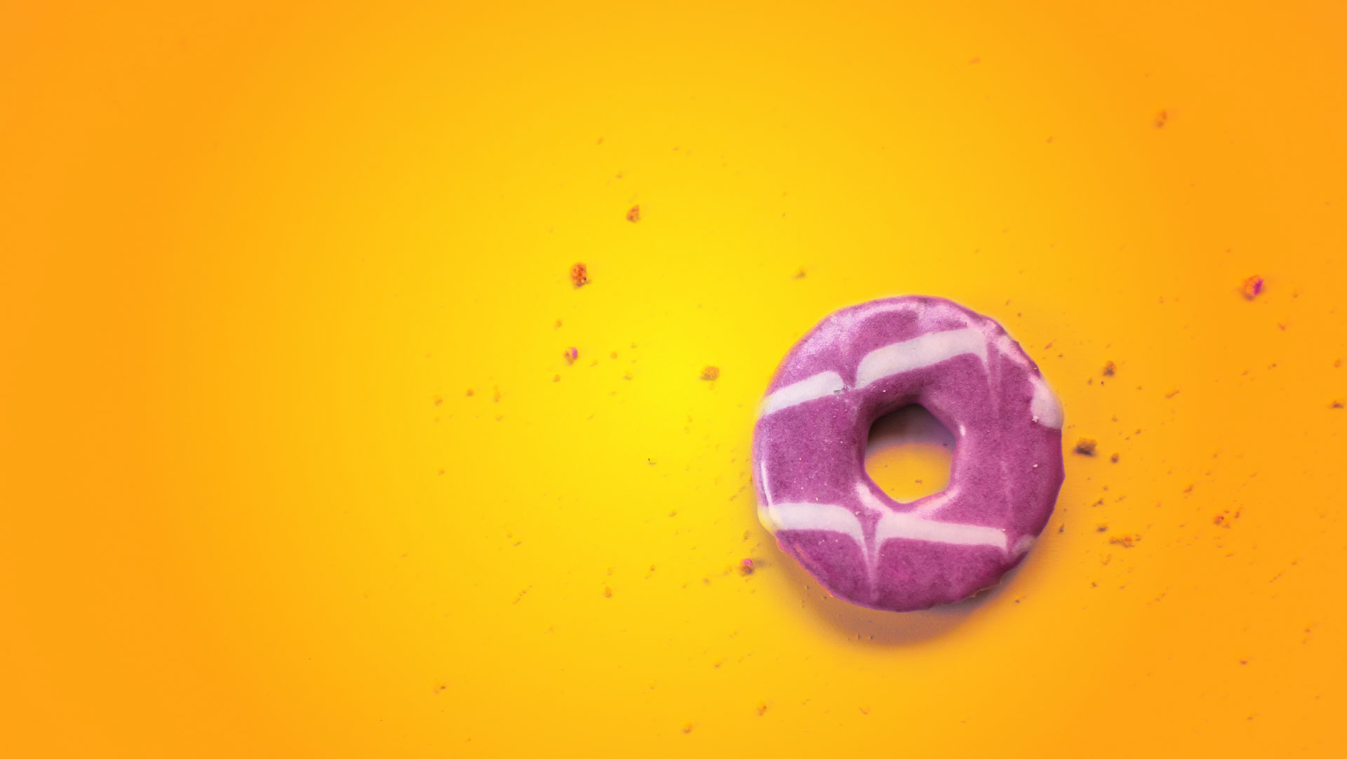 Marketing slider of party ring on yellow and orange background