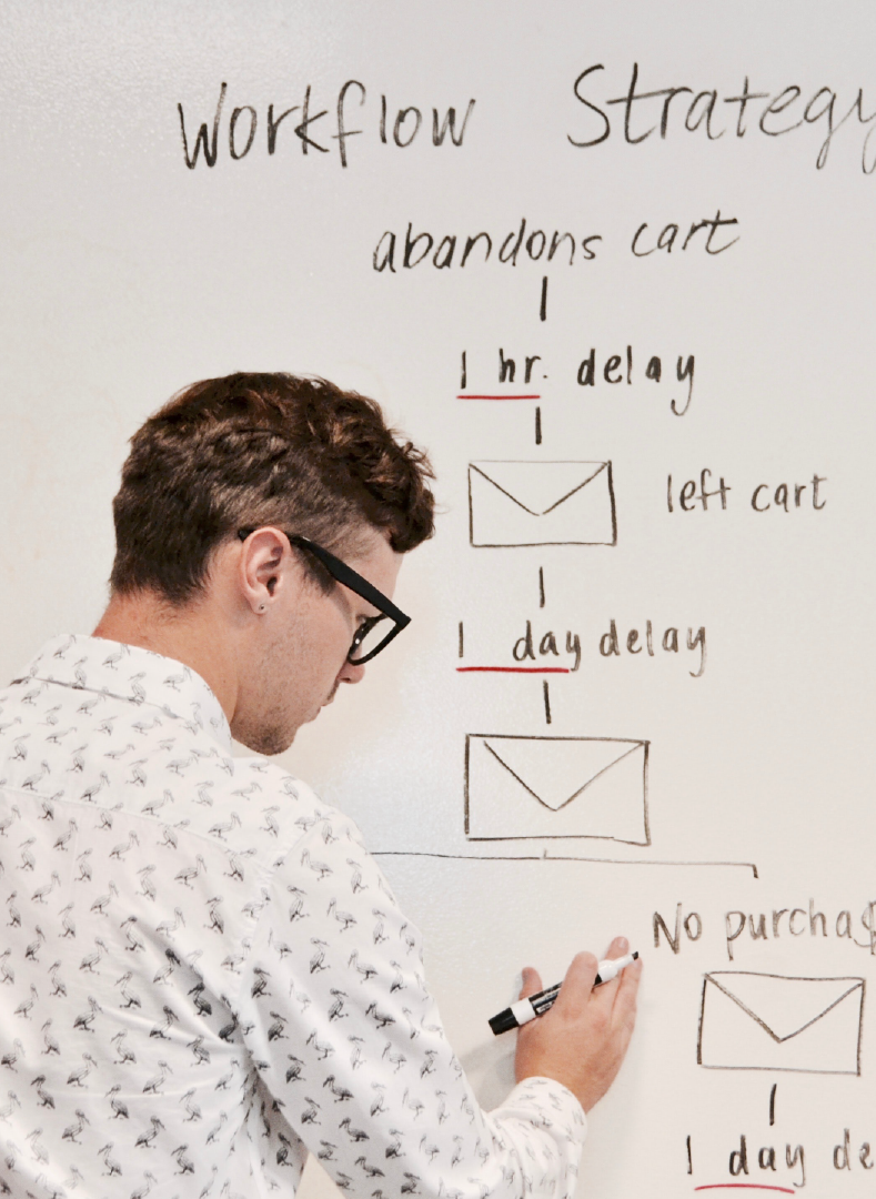 Online content and marketing background showing man drawing workflow strategy on a whiteboard.