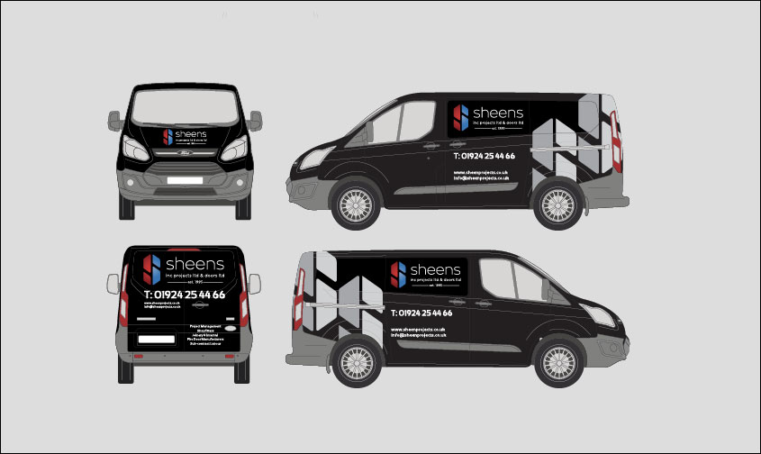 Sheens van signage designs on mockup of a van on a grey background
