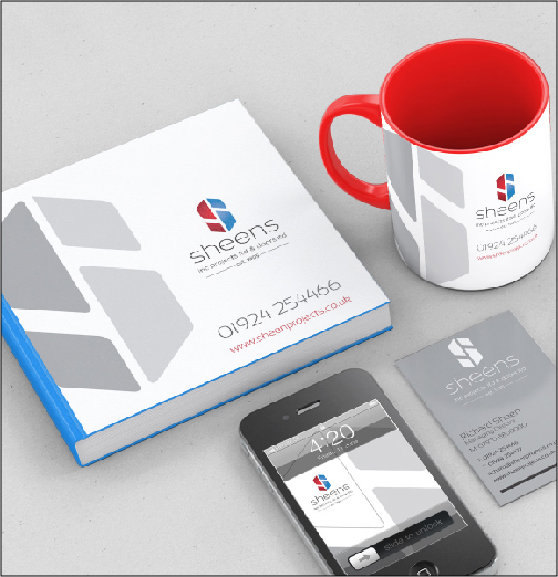 Thumbprint media work, mockup of business cards, brochures, mugs and phone wallpapers with Sheens corporate identity
