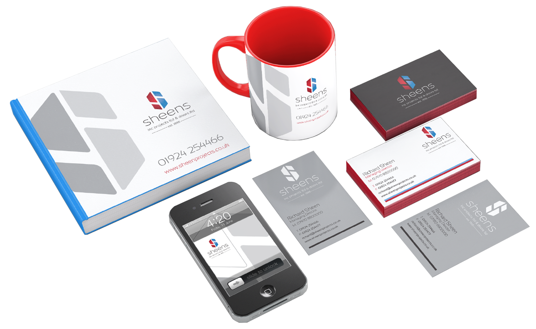 Various Sheens stationary, branding created by thumbprint media.