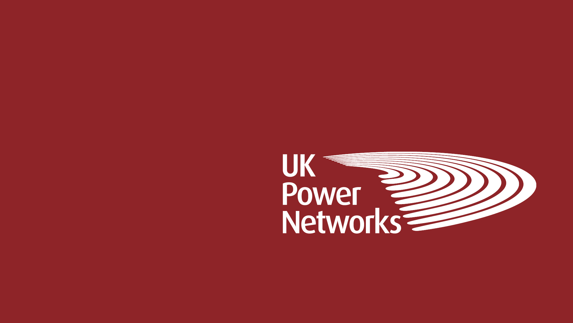 UK Power Networks logo in white on a crimson background