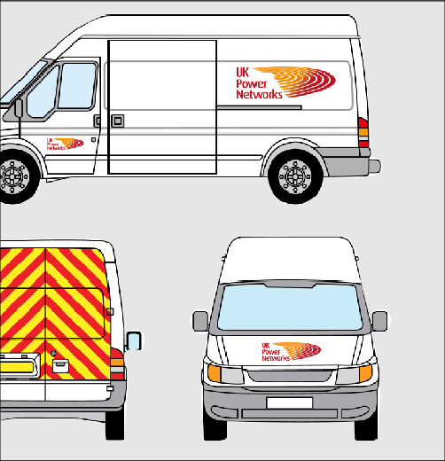 Thumbprint media work, image of UK Power Networks design for the van signage following brand guidelines