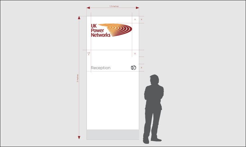 UK Power networks wayfinding example showing where reception is and what scale it would be.
