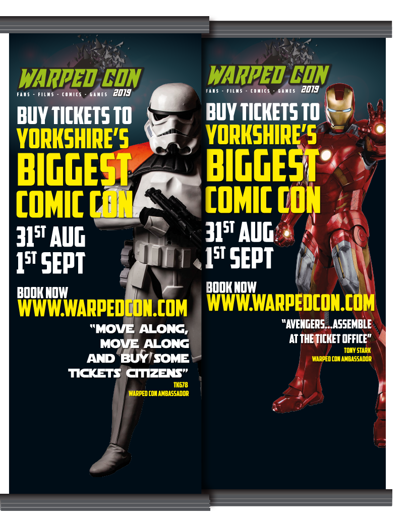 Thumbprint media print work, example of Warped Con advertising banners featuring Storm Troopers and Iron Man
