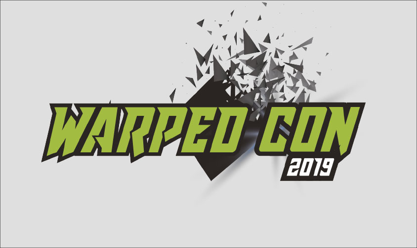 Warped Con Logo on grey background