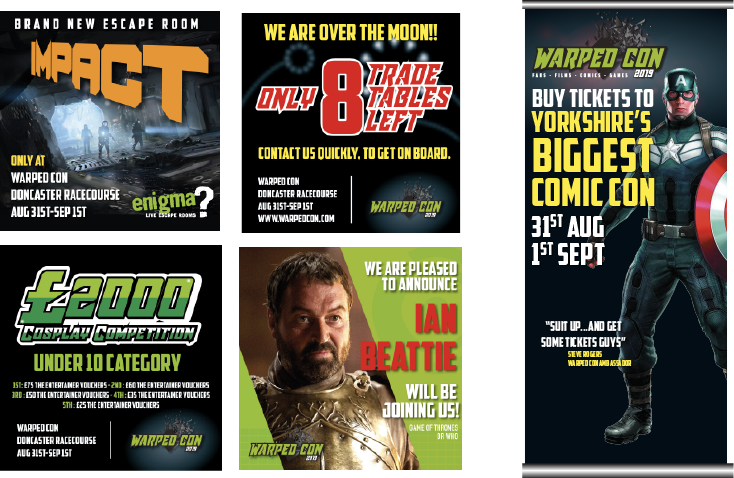 A selection of Adverts for Warped Con, both online and for print.