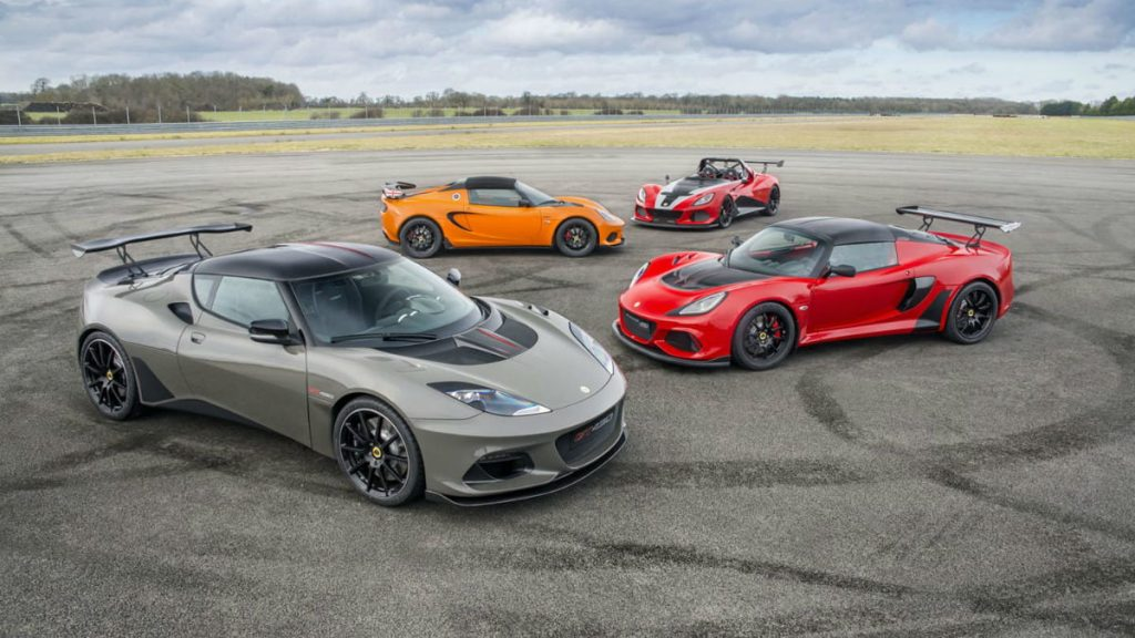 Image of 4 different lotus models parked at opposite angles used in lotus reveals rebrand article