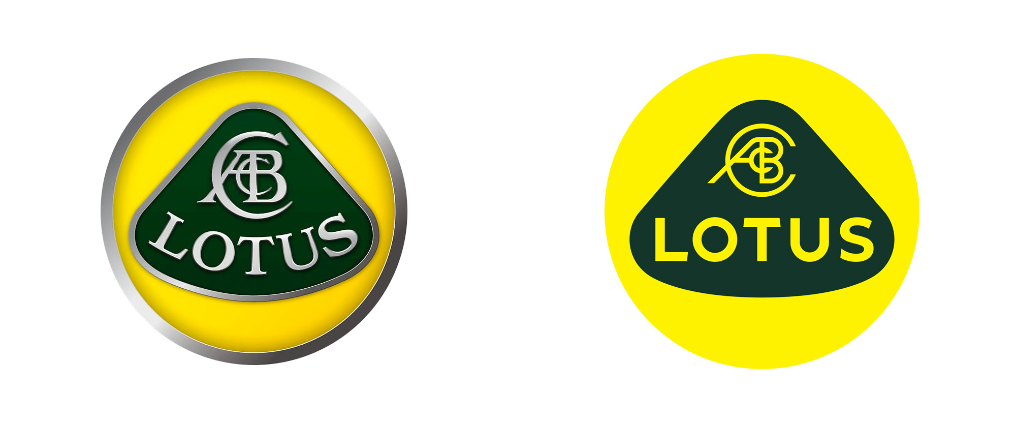 Dual image of the old and new Lotus badges used in lotus reveals rebrand article.