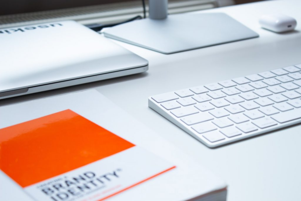 image of a brand identity brochure on a desk
