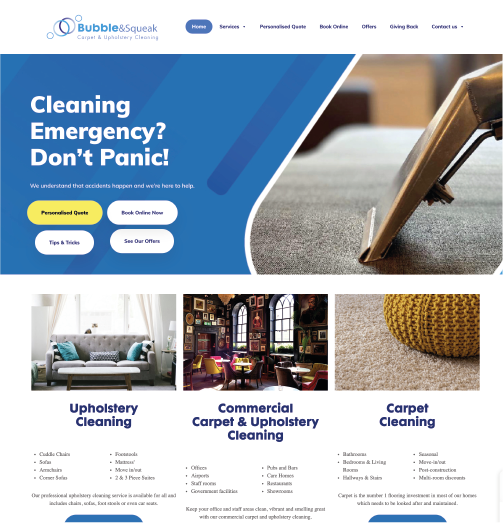 Bubble & Squeak Carpet & Upholstery Cleaning website screen grab