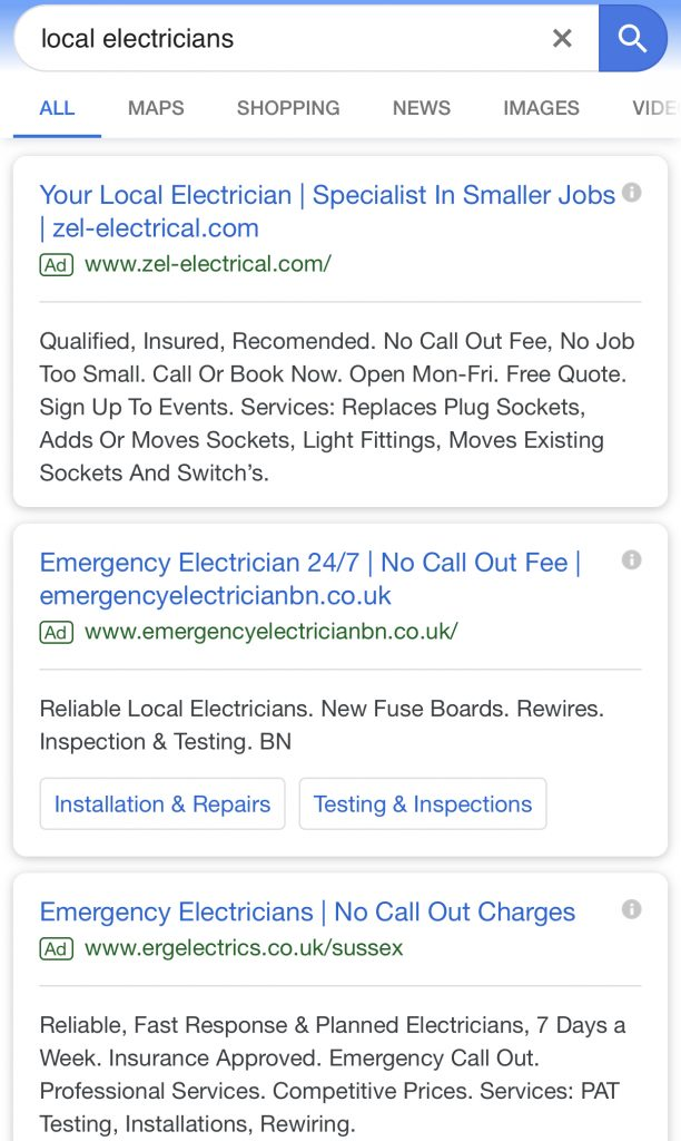 google ads example